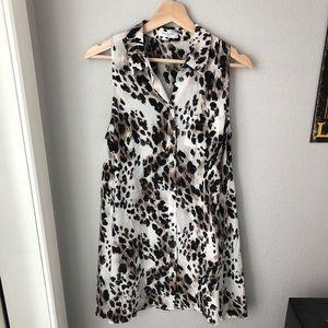 Equipment 100% silk leopard shirt dress